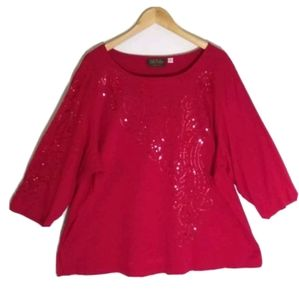 Bob Mackie red top blouse sequins knit 3X women st